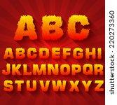 fire set font alphabet text on... | Shutterstock .eps vector #220273360