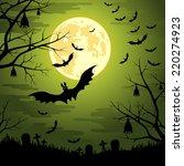 happy halloween background with ... | Shutterstock .eps vector #220274923
