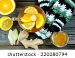 glass cup of warming ginger tea ... | Shutterstock . vector #220280794
