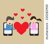 a couple having an online... | Shutterstock .eps vector #220282900