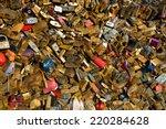 love padlocks under sunset rays ... | Shutterstock . vector #220284628