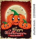 vintage halloween poster design ... | Shutterstock .eps vector #220300648