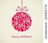 christmas ball with bow.... | Shutterstock . vector #220301776
