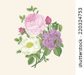 floral card. bouquet of roses ... | Shutterstock .eps vector #220324753