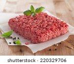 minced meat on butcher paper...   Shutterstock . vector #220329706