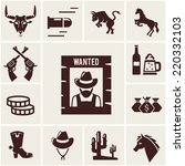 wild west wanted poster and... | Shutterstock .eps vector #220332103