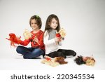 little girls playing with dolls ... | Shutterstock . vector #220345534