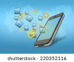 phone with flying icons of... | Shutterstock . vector #220352116