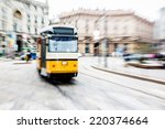 tram moving in the city center | Shutterstock . vector #220374664
