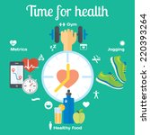 Time For Healthy Concept Flat...