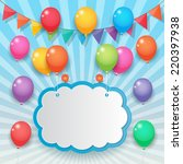 balloons cloud bunting and... | Shutterstock .eps vector #220397938