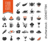 kitchen and food icon set. | Shutterstock .eps vector #220407784