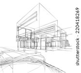 contemporary architecture sketch | Shutterstock . vector #220418269