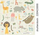Stock vector zoo alphabet with cute animals g h i j k l m letters giraffe hippo iguana jellyfish koala 220423000