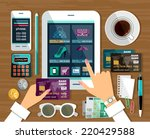 shopping in online store.... | Shutterstock .eps vector #220429588