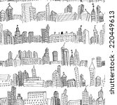 hand drawn city doodle seamless ... | Shutterstock .eps vector #220449613