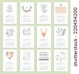 Calendar 2015 With Hand Drawn...
