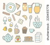 vector hand drawn breakfast... | Shutterstock .eps vector #220455778