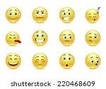 set of beauty pensive smiles... | Shutterstock .eps vector #220468609