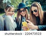 three beautiful friends...   Shutterstock . vector #220473523