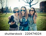 three beautiful friends... | Shutterstock . vector #220474024