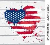 vector usa flag in heart shape... | Shutterstock .eps vector #220481080
