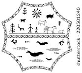perfect set of cave paintings.... | Shutterstock .eps vector #220501240