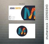 vector business card template | Shutterstock .eps vector #220503343