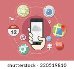 smartphone with flat style... | Shutterstock .eps vector #220519810