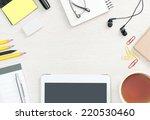 blank office desk background... | Shutterstock . vector #220530460