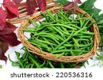 Basket Of Green Beans Laid On ...
