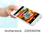 hand holding mobile phone with... | Shutterstock . vector #220546546