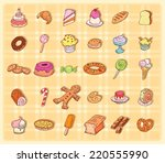 sweets icons set  illustration.  | Shutterstock . vector #220555990