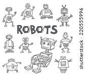 doodle robot cartoon ... | Shutterstock . vector #220555996