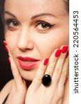 beautiful closeup portrait of a ...   Shutterstock . vector #220564453