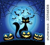 cat and halloween pumpkins... | Shutterstock .eps vector #220568308