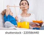 cute preschooler and mum... | Shutterstock . vector #220586440