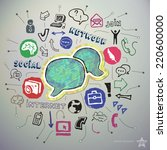 hand drawn social network icons ... | Shutterstock .eps vector #220600000