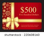 red gift card with golden... | Shutterstock .eps vector #220608160