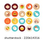 flat icons set 27   baby and... | Shutterstock . vector #220614316