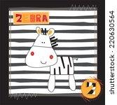 cute zebra invitation card... | Shutterstock .eps vector #220630564