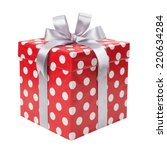Red Gift Box With White Dots...