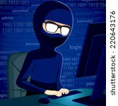 hacker man typing on computer... | Shutterstock . vector #220643176