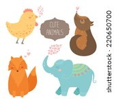 cute animals collection. vector ...