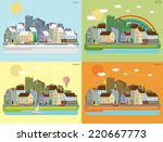 urban landscape of four seasons | Shutterstock .eps vector #220667773