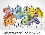 business people over colorful... | Shutterstock .eps vector #220676176