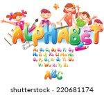 alphabet with children  | Shutterstock .eps vector #220681174