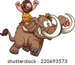 caveman riding a mammoth.... | Shutterstock .eps vector #220693573