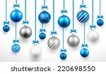 christmas blue balls. vector | Shutterstock .eps vector #220698550