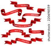 christmas red ribbons. vector | Shutterstock .eps vector #220698559